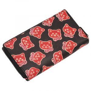 Dámská kožená peněženka Symetry Kočičky černá