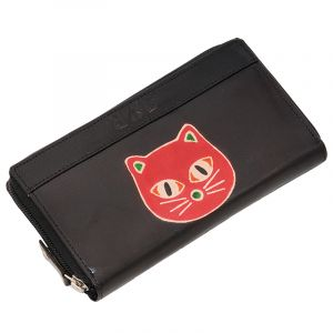 Dámská kožená peněženka Symetry Kočka černá
