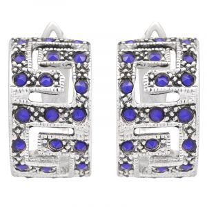 Stříbrné náušnice s modrými zirkony Ag 6,4 g