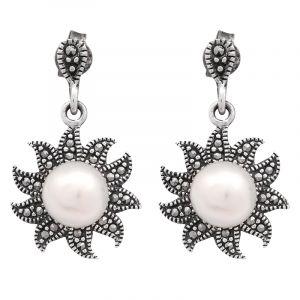 Stříbrné náušnice perla a markazity Ag 4,1 g