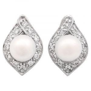 Stříbrné náušnice perla a zirkony Ag 5,9 g