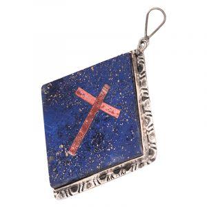 Stříbrný přívěsek s lapisem lazuli a křížem Ag 17,4 g čtverec | SoNo spol. s r.o.