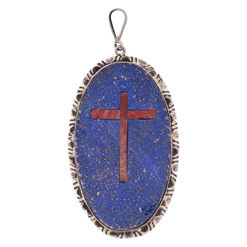 Stříbrný přívěsek s lapisem lazuli a křížem Ag 17,6 g ovál