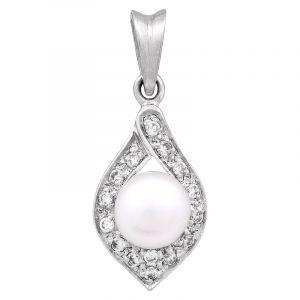 Stříbrný přívěsek s perlou a zirkony Ag 2,9 g