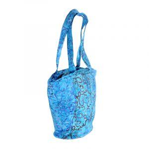 Dámská batikovaná taška Disco azurově modrá 35 x 40 cm