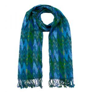 Šála Zigzag 190 x 30 cm zeleno-modrá
