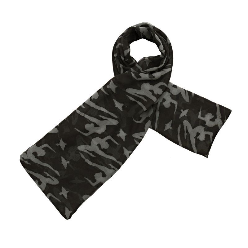 Hedvábný šátek 100 x 100 cm Jogini černý šifon