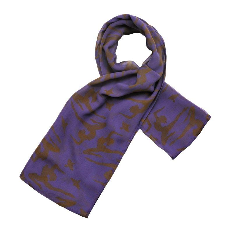 Hedvábný šátek 100 x 100 cm Jogini fialový šifon