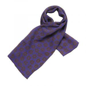Šátek hedvábí 100 x 100 Květy fialový šifon
