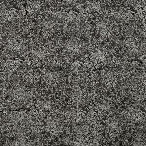 Hedvábný šátek 150 x 60 cm Květy černý II