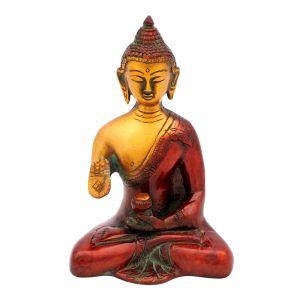 Soška Buddha kov 14,5 cm patina červená