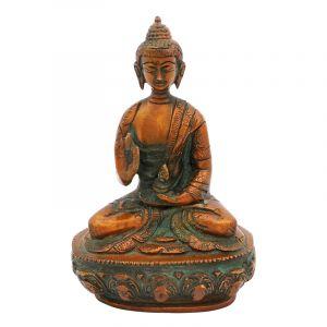 Soška Buddha kov 15 cm patina
