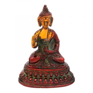 Soška Buddha kov 09,5 cm patina červená