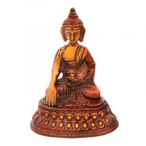 Soška Buddha kov 09,5 cm patina hnědá
