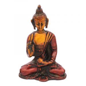 Soška Buddha kov 09 cm patina červená
