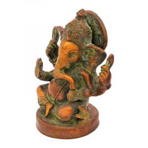 Kovová soška Ganesh 13,5 cm patina zelená
