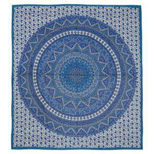 Přehoz Mandala Star modrý 225 x 205 cm