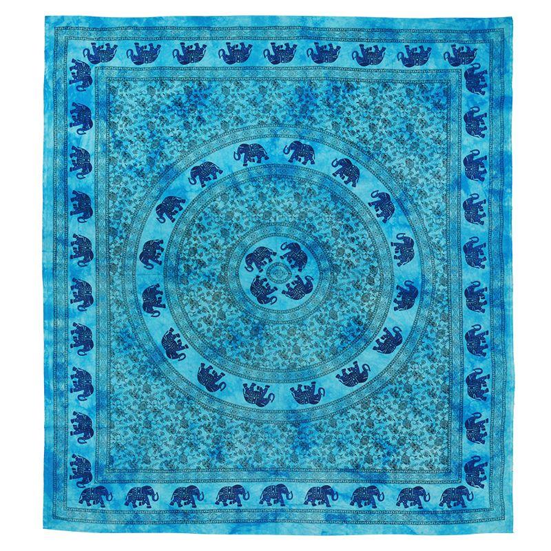 BOB Batik indický přehoz na postel Sloni azurový 225 x 205 cm bavlna | SoNo spol. s r.o.