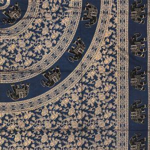 BOB Batik indický přehoz na postel Sloni modrý - zlatý 240 x 205 cm bavlna   SoNo spol. s r.o.
