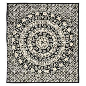Přehoz Mandala Indie černo bílý 225 x 205 cm