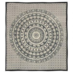 Přehoz Mandala Indie II černo bílý 225 x 205 cm
