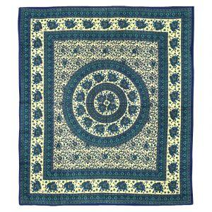 Přehoz Sloni modrý - zelený 220 x 205 cm