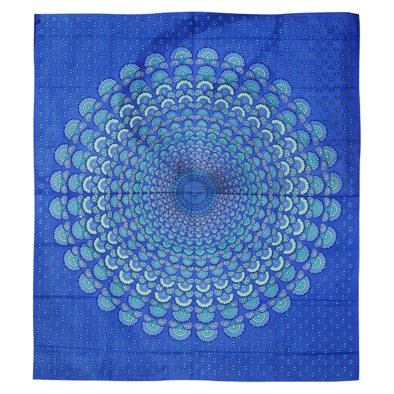 BOB Batik indický přehoz na postel Peacock azurový 230 x 205 cm bavlna | SoNo spol. s r.o.
