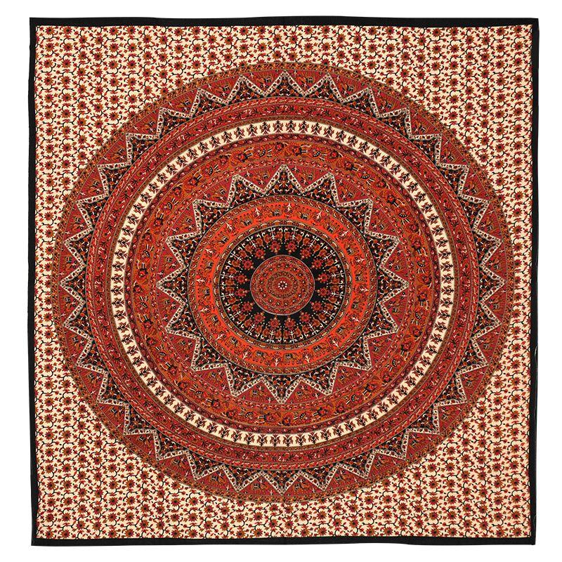 Indický přehoz na postel Mandala Star vínový 225 x 205 cm