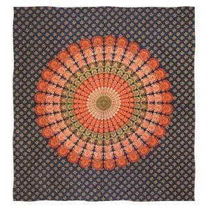 Přehoz Peacock modrý - oranžový 225 x 200 cm