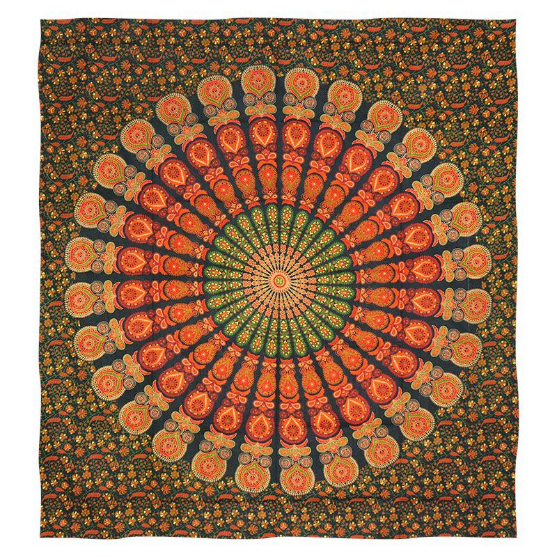 Indický přehoz na postel Peacock zelený 220 x 200 cm | SoNo spol. s r.o.