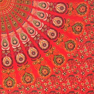 Indický přehoz na postel Peacock červený 220 x 200 cm