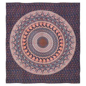 Přehoz Mandala Karavana modrý 225 x 205 cm