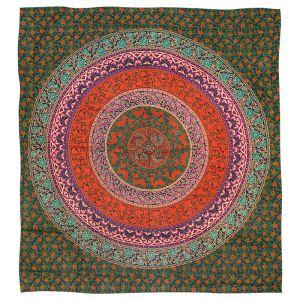 Přehoz Mandala Flower zelený 225 x 200 cm