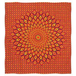 Přehoz Paví oko červený 220 x 200 cm