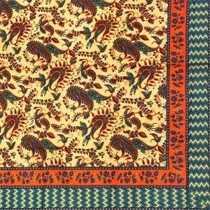 Indický přehoz na postel Paisley oranžový 210 x 140 cm