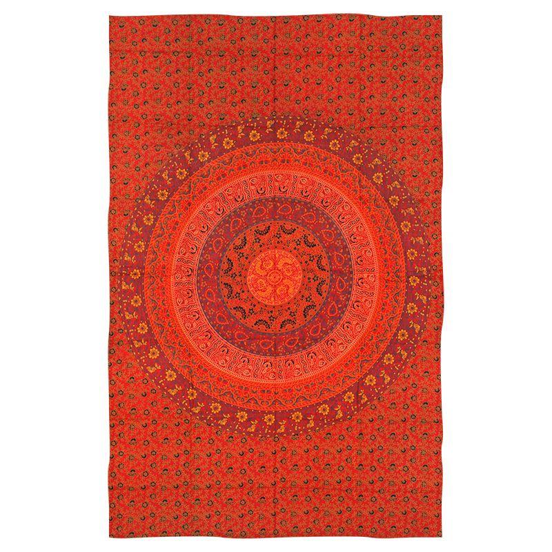 Přehoz Mandala Flower červený 220 x 135 cm