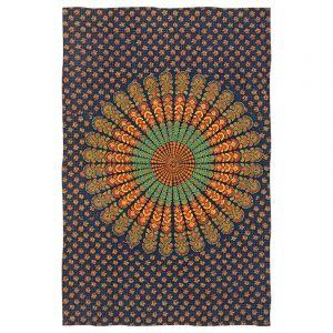 Přehoz Peacock modrý - oranžový 220 x 145 cm