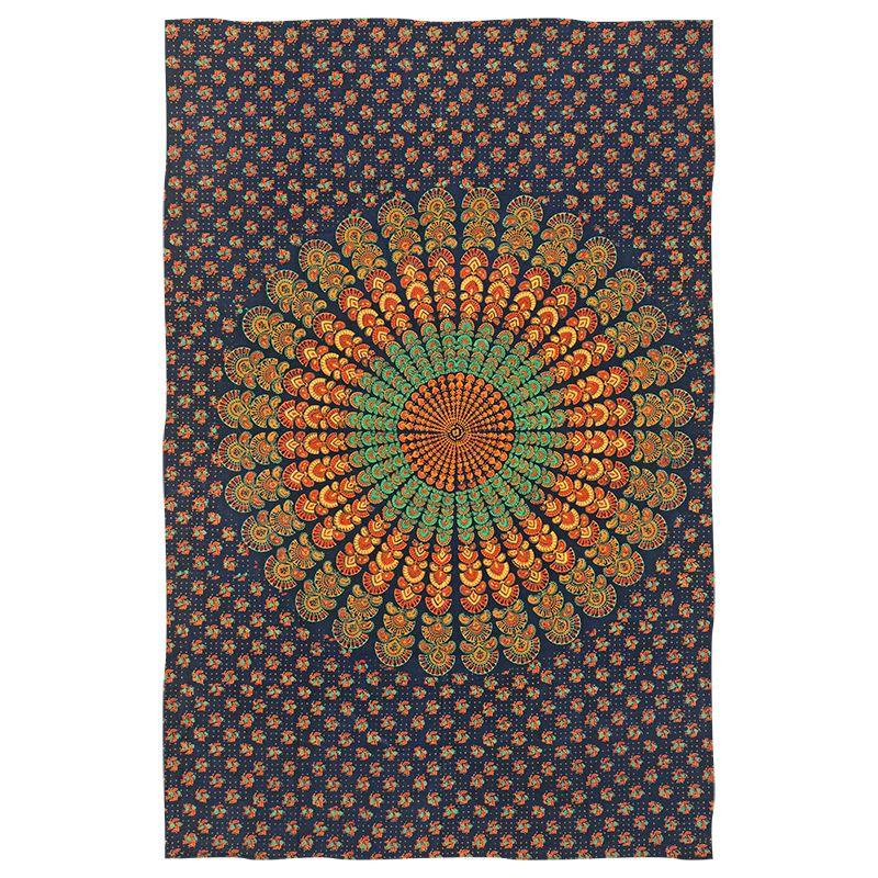 Indický přehoz na postel Peacock modrý - oranžový 220 x 145 cm