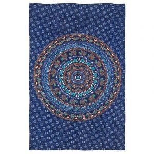 Přehoz Mandala Karavana modrý 200 x 130 cm