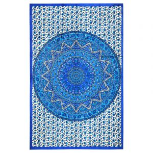 Přehoz Mandala Star modrý 205 x 130 cm