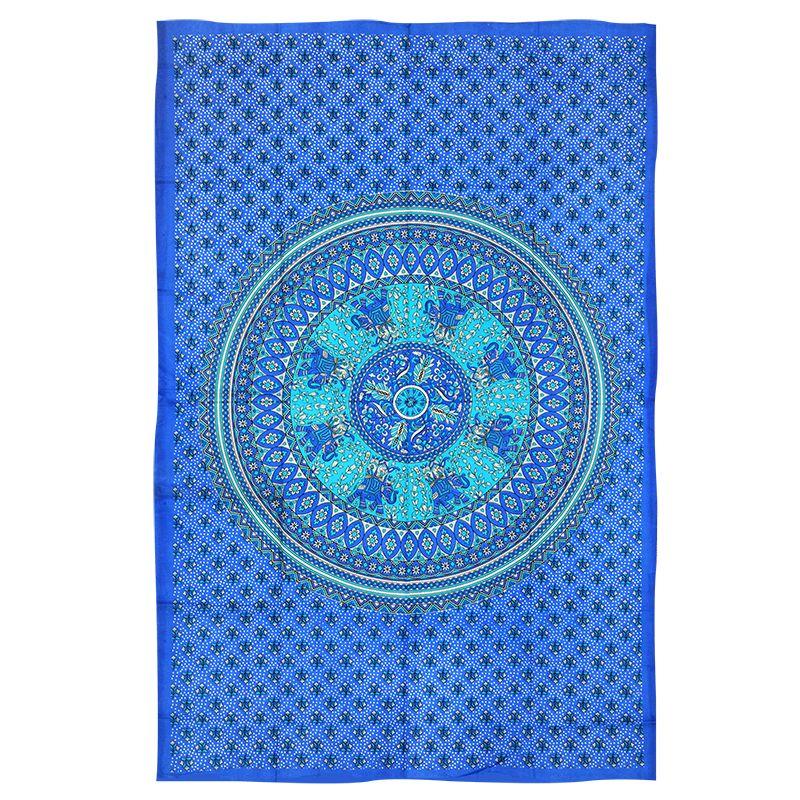 Indický přehoz na postel Mandala Karavana azurový 200 x 135 cm