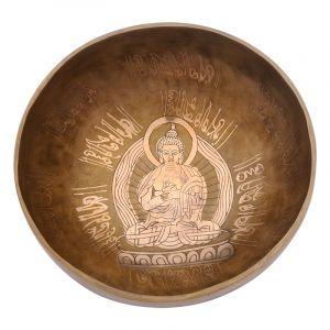 Tibetská mísa 20,5 cm - 1043 g zdobená Buddha