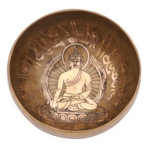 Tibetská mísa 14 cm - 543 g zdobená Buddha