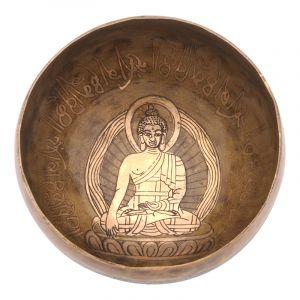 Tibetská mísa 15,5 cm - 710 g zdobená Buddha