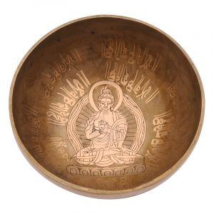 Tibetská mísa 20,5 cm - 1220 g zdobená Buddha