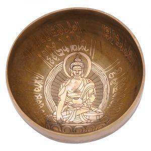 Tibetská mísa 17 cm - 830 g zdobená Buddha
