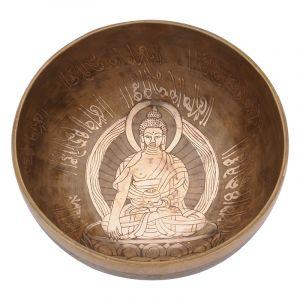 Tibetská mísa 19,5 cm - 1064 g zdobená Buddha
