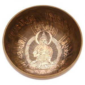 Tibetská mísa 18 cm - 918 g zdobená Buddha