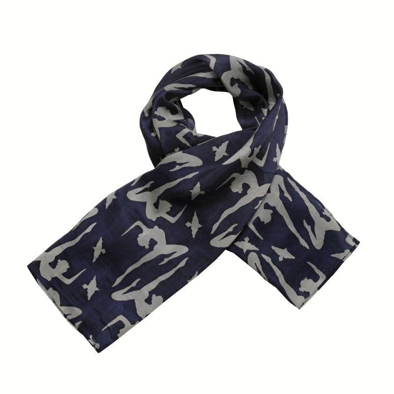 Hedvábný šátek 110 x 105 cm Jogini modrý II
