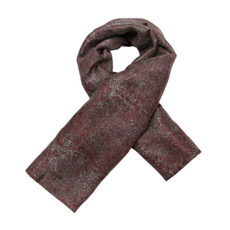 Hedvábný šátek 110 x 105 cm Květy vínový | SoNo spol. s r.o.
